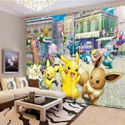 Pikachu And His Brother 3d Blockout Photo Print Curtain Fabric Curtains Window