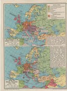 Vintage Map 1941 Ww2 Outbreak Of Great War 1914 And After Peace Treaties 1919-25
