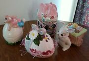 4 Vintage Ceramic Mold Bunny With Egg Cart , Egg Painted Easter Boxes 1979 Euc