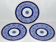 Antique Bread Plates Royal Worcester Royal Lily Flow Blue 1890s England