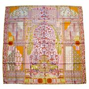 Hermes Scarf Stole Shawl Tapis Persans Pierre Marie Floral Pink Silk Used 140 Cm