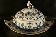 Antique Porcelain Meissen Blue Onion Soup Tureen With Tray And Gold Overlay.