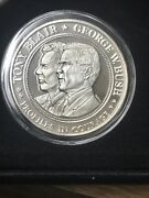 Tony Blair George Bush Uk And Us 1 Troy Oz .999 Fine Silver Round Proof Coin Medal