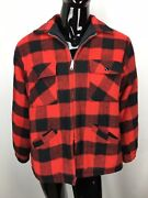 Vintage 1950and039s Grants Menand039s Wear Check Print Flannel Coat Size Xl