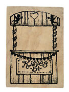 Vtg Kissing Booth Love Cupid Valentines Day Wood Rubber Stamp, 1997 Rare Find