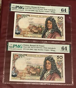 France French 50 Franc Running Pair Bank Notes 1973 Pmg 64 Unc Pick 148d Racine