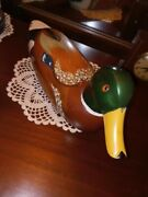 Vintage Wooden Mallard Decoy Unknown Age 14 Inches Long Beautifully Made