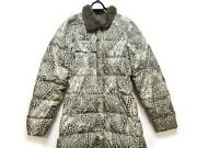 Auth Moncler Beige Black Gray Polyester Nylon Feather Womens Down Coat 1