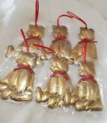Vintage Nip Department 56 Lg 6 1/2 Golden Bear W Red Bow Christmas Ornaments