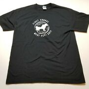 First Annual Meat Fest 2011 T-shirt Mens L Black Cow Grill Food Tee D92