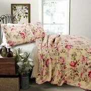 New Cozy Chic Cottage Shabby Pink Red Ivory Yellow Green Floral Rose Quilt Set