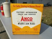 1950and039s Anco Windshield Wiper Arm And Blades Gas Station Metal Display Cabinet Sign