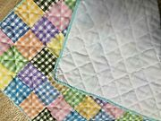 Primitive Patchwork Block Doll Quilt Farmhouse Gingham Prints Hand/quilted