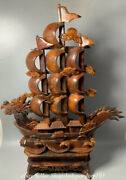 26.8 Chinese Natural Ox Horn Carving Fengshui Dragon Boat Sailing Ship Statue