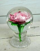Vintage Art Glass Footed Peony Crimp Rose Pedestal Paperweight