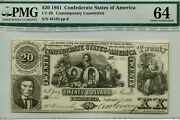 1861 20 Contemporary Counterfeit Confederate Note Ct-20/141 Pmg 64 45183