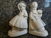 Vintage Coventry Ware Bookends Chalkware Couple Figurine Top Hat And Bonnet