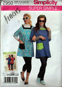 Retro Artist Smock Apron Size Xs To Xl Simplicity Sewing Pattern 2950