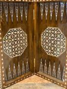 Antique Egyptian Backgammon Board Wood Inlaid Mother Of Pearl 20