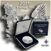 2014 1 American Silver Eagle Bu In Us Mint Gift Box Spring9 Coins - Beautiful