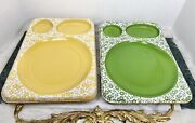 Vintage Divided Trays Lunch Dinner Meal Cafeteria Floral Molded Plastic Rare 14