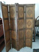 Vintage Hand Carved Wooden Room Divider/privacy Screen 1800s Or 1700s