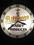 Vintage Rare Biltmore Dairy Double Bubble Wall Clock Lighted Works 15andrdquo