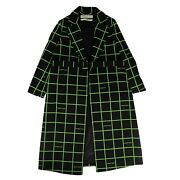 Nwt Off White C/o Virgil Abloh Black And039neon Checkand039 Long Coat Size Xs/38 2590