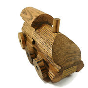 Vintage Toy Train Figurine Oak Wood Advertising L.j. Smith Made From Stair Parts