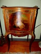 Antique Vernis Martin Style Hand Painted Music Cabinet