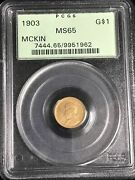 1903 G1 Mckinley La Purchase Gold Commemorative Dollar Ms-65 Pcgs, Nice Coin