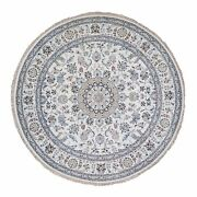 9and0391x9and0391 250 Kpsi Ivory Nain Wool And Silk Hand Knotted Round Oriental Rug G59994
