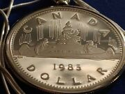 1985 Mint Canada Voyager Canoe Dollar Pendant 30 Sterling Silver Snake Chain