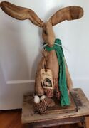 Jack Easter Spring Primitive Rabbit With Eggs Self Standing