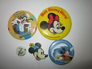 Vintage Disney Mickey Mouse Minnie Donald Duck Goofy Buttons Magnet Pins