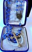 Gorgeous Antique French Blue Crystal Rosary Gold Filled Medaille Du Scapulaire