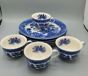 Antique Or Vintage Blue Willow Japan Dinner Plates And Cups Blue And White China