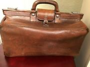 Vintage Mark Cross Leather Doctor's Gladstone Bag-two Handles, Made In England