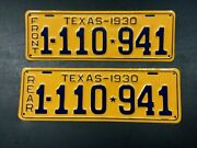 Vintage 1930 Texas Tx. License Plate Set Very Nicely Restored High Quality