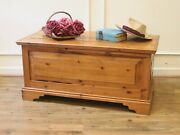 Vintage English Country Pine Trunk Blanket Box Hope Chest Coffee Table.