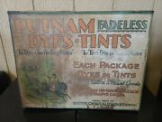 Putnam Dyes Tints Country Metal Wood Advertising Store Display Cabinet + 3 Dyes