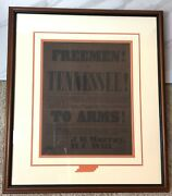Rare Vintage Framed Freemen Of Tennessee To Arms Civil War Confederate Poster