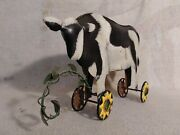 Antique Metal Cow On Wheels Toy Pull Toys Vintage Decorative Nice
