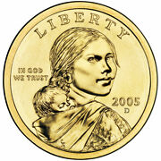 2005 P And D 1 Sacagawea Native American Gold Dollar 2 Coin Set From Mint Rolls