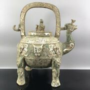 9.4 Chinese Old Antique Bronze Ware Silver Plated Chicken Head Tiliang Teapot