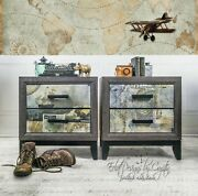 Industrial/ Modern/ Adventure/ Travel/ Atlas/ Geographical/ Nautical End Tables/