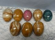 Vintage Alabaster Agate Marble Easter Eggs Lot Of 8 Multiple Colors Shiny