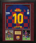 Lionel Messi Signed Autographed Barcelona Jersey Custom Framed To 32x40 Icons