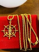 22k 916 Fine Yellow Real Gold Unisex Anchor Mariner Necklace With 24andrdquo 2mm 14g