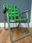 Vintage Kidsand039 Green Aluminum Folding Lawn Chair Webbed 2 - 5 Year Old